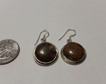 Vintage sterling silver stone earrings baer