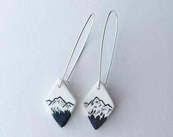 SnowCap Mountain Earrings / long wire diamond shaped dangle earring series / Porcelain Earrings / handmade/ outdoor women