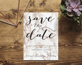 Copper Marble Save the Date Printable Invitation   Customized Marble Invite