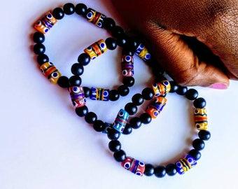 African inspired bracelet/ krobo bracelet, wood beads.