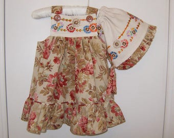 Sun Dress - Bonnet Set, Size 12-18 Mos. Sun Dress - Bonnet Set, Upcycled Dress and Sun Bonnet, Embroidered Sun Dress and Sun Bonnet