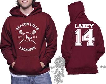 Beacon Hills Lacrosse WL Lahey 14 Isaac Lahey printed on Unisex Hoodie MAROON