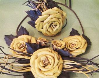 Yellow Rose Necklace, bracelet Rose, Roses jewellry set, Roses Necklace leather, Autumn bracelet, Autumn necklace leather, Autumn jewelry