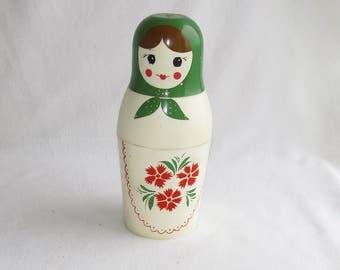 "10"" Plastic thermos 0.5 liter , Green - Red Matryoshka, Babushka, USSR, 1972, Soviet vintage, 26 cm Matryoshka doll"
