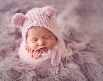 Newborn photography prop alpaca knitted wrap matching bear bonnet