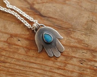 Opal All Seeing Hand Pendant | Sterling Silver