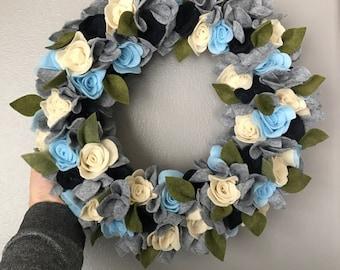 Cool blue felt flower wreath