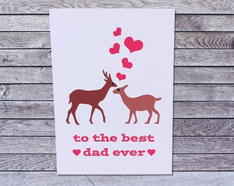 Love Deer Fathers Day Card Husband from Wife / Father's Day Card