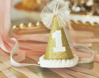 Glitter 1st Birthday Party Hat-1st birthday hat, photo prop, 1st birthday cake topper