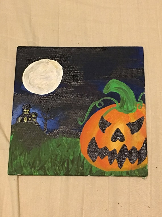 Halloween painting on 6 by 6 inch flat canvas