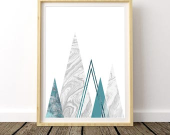 Mountain Wall Decal, Mountain Print, Geometric Poster Art, Mountain Decor, Scandinavian Modern, Modern Contemporary, Wall Art, Mountain Art