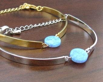 Opal bracelet jewelry, Opal bracelet, Opal jewelry, Minimalist bracelet, Disc opal bracelet, Charm bracelet, Gift for her, Wedding gift