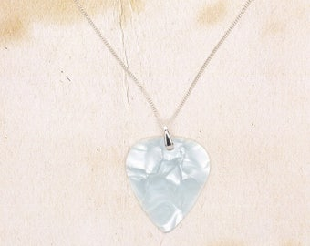 Ice White Guitar Pick Pendant On 925 Sterling Silver Fine Chain Necklace