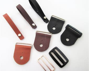 Guitar Strap Kit Combo, Leather Ends and Leather Headstock Strap Holder**New: Nickel or Black Acetate Adjustment Slide