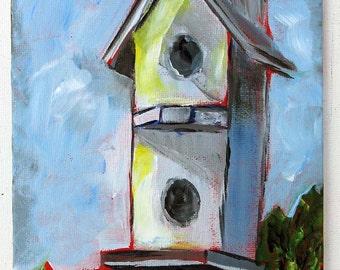 Birdhouse, Acrylic Painting, Home Decor