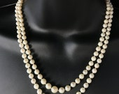 Vintage 9ct Gold Genuine Japanese Saltwater Akoya Pearl double Strand Necklace Boxed  815