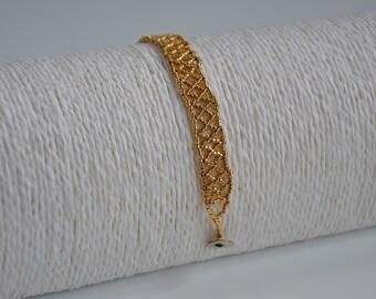Bracelet bath gold, bracelet bath gold, bracelet female, style Huichol, bath gold