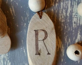 Driftwood initial necklace