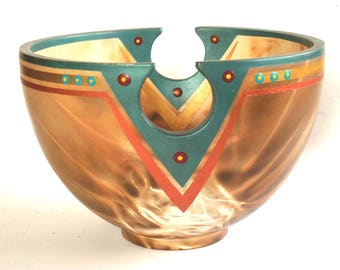 Smoke Fired, *Signed,* Pottery Bowl, Southwestern, Geometric Design
