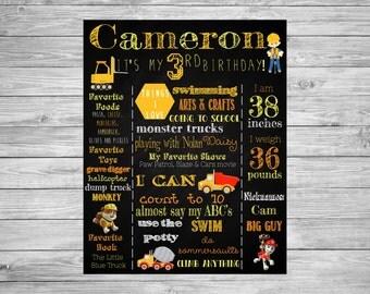 First Birthday Chalkboard/1st Birthday Chalkboard/Construction Party/Construction Theme/Construction Party Decorations/2nd/3rd Birthday/sign