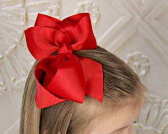 "Girl's Classic 4.5"" Larger Size Grosgrain Ribbon Alligator Hair Clip Bow - your choice of color"