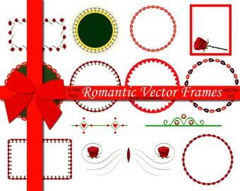70% OFF SALE Romantic Vector frames, Vector Frames Border, Frame For Decor, Vector Clipart, Lips Clipart, Vector Clip Art