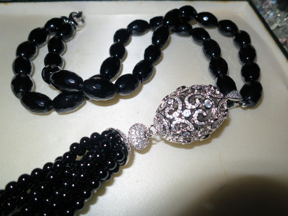 Beautiful faceted natural black onyx tassel necklace with rhinestone feature
