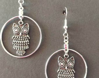Silver owl with silver hoop and fishhook