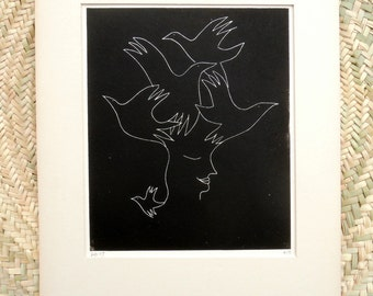 Original Fine Art Print, Drypoint Print, Etching of a woman and birds, Black and White portrait, Wall Art, Hand Pulled in Limited Edition