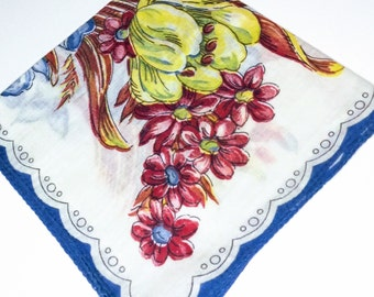 Ladies Linen Cotton Hanky with Daffadills and Tulips of Spring Flowers, Blue Tulips and Yellow Dafidils Hankerchiefs, Valentines