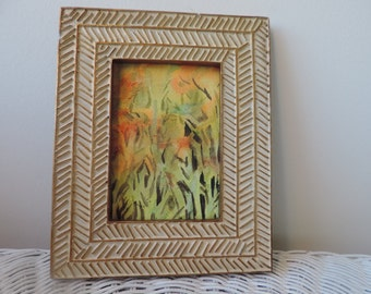 Original Fall Trees Watercolor with Frame by Jude