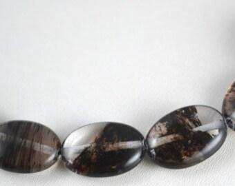 Brown Black Natural Quartz Teardrop Gemstone Beads 1 strand 22 PCs Size 15x20mm Hole Size 2mm Healing, chakra, birthstone for Jewelry Making