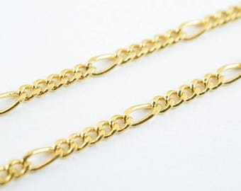 "Gold Filled Figaro Chain 18KT Gold Filled Size 19"" Long 2mm Width 1mm Thickness  Item #CG112"