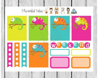 Weekly sticker set - chameleons - planner stickers
