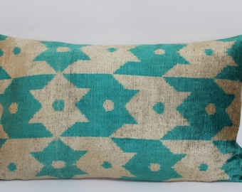 Ikat Pillow Case -  14'' x 24'' Decorative Pillows For Couch Sofa Pillows Lumbar Pillow Decorative Cushion Modern Pillow Cover Turquise