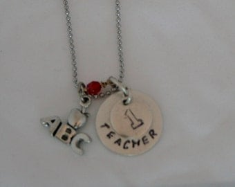 Teacher Stamped Disk (20.6mm Dia x 1.2mm) with  Apple, ABC or 1 Stamp/Charm and Stone