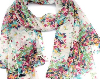 Floral Scarf, Summer Scarf, floral summer Scarf, Gift for her