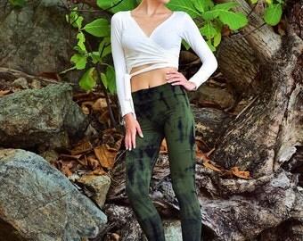 Mooscape Leggings/Tie Dye Yoga Leggings/Big waist band leggings/Tribal leggings/ Handcolored/  Forest Leggings/ Yoga