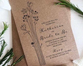 Rustic Bridal Shower Invitation, Printable Bridal Shower Invitation, Rustic Invitation Template, Bridal Shower Invitation, Tea Party Invites