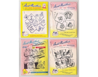 Collection of four vintage Aunt Martha's Hot Iron Transfers, various patterns, all uncut, factory folded, all pre-1974.
