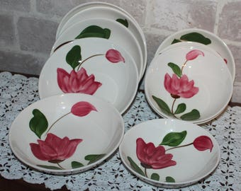 Rio Stetson pink hand painted pottery dinnerware, great for mismatched  china, small and medium bowls set of 10