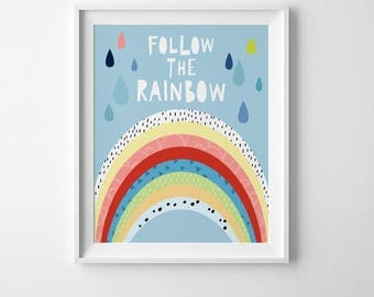 Rainbow print for kids room, kids bedroom decor, childrens wall art quote, kids nursery decor, Mini Learners, childrens room decor, kids art