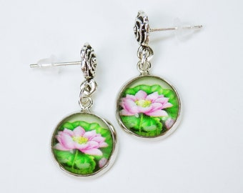 Earrings water lilies cabochons in pink and pair - pair of earrings-water lilies hanging earrings with silver flowers green ear plugs