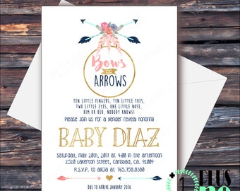 DIY Digital Download / Printable - Gender Reveal Party Invitation - Bows or Arrows? Feathers, Baby Shower - Rustic Theme Pink or Blue - 5X7
