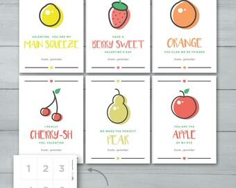 Kids Valentine cards | Fruit Valentines  |  Lemon, Strawberry, Orange, Cherries, Pear, Apple Kids Valentines