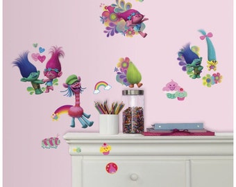 Dreamworks trolls birthday/bedroom stick and peel wall decal decor