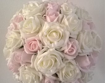 Bridal Bouquet - Ivory and Pale Pink - Artificial Foam Roses - Wedding Flowers.