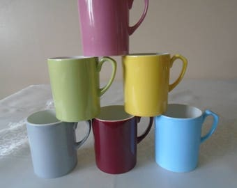 Harlequin small coffee mugs x 6