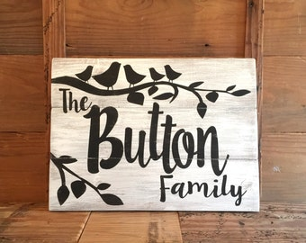 FAMILY NAME SIGN with birds / family sign/ custom family sign