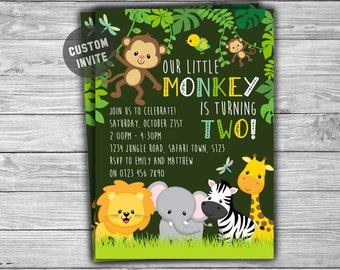 PRINTABLE - Kids Birthday Invitation - Personalized Digitial Jungle Safari Invite - Our Little Monkey First Second Third Birthday - 063